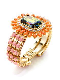 Rodrigo Otazu Green Rainbow Crystal & Resin Bead Bracelet