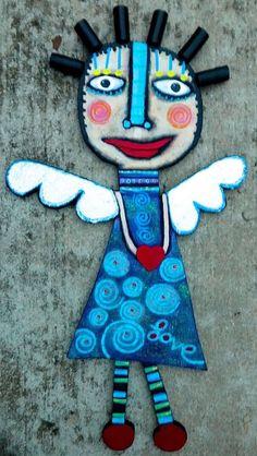 Tracey Ann Finley Original Outsider Wood Raw Folk CutOut Painting LOVE ANGEL fun #OutsiderArt
