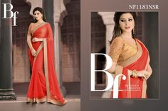 #Elegant #Chiffon #Saree #With #Subtle #Dupion #And #Net #Blouse #Piece $80.18 www.fashionumang.com