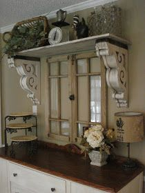 The Red Chandelier: Our First House (Dining Room) - It looks like a hutch was made from old windows and corbels and a shelf on top and added to the existing buffet! It' beautiful!!