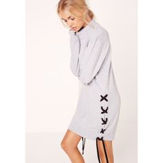 Missguided Lace Up Side and Sleeve Sweatshirt Dress ($37) ❤ liked on Polyvore featuring dresses, grey, lace front dress, sweatshirt dress, lace up dress, laced dress and sleeved dresses