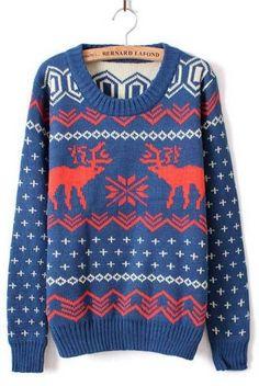 Blue Long Sleeve Deer Print Loose Pullovers Sweater