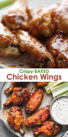 Crispy Baked Chicken Wings Crispy oven Baked Chicken Wings are so easy to prepare and you don't have to bother with all the grease from frying! A healthier yet delicious way to enjoy wings! Crispy Baked Chicken Wings, Baked Chicken Recipes, Crispy Baked Wings, Stuffed Chicken Wings, Chicken Wing Side Dishes, Hot Wings Recipe Fried, Actifry Chicken Wings, Oven Baked Wings, Chicken Drummettes Recipes