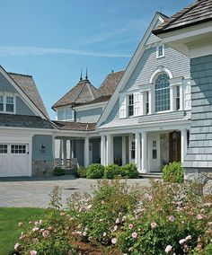Duckham-Fea-Breezeway connects garage to front corner of house by Boston Design Guide Beach Cottage Style, Coastal Cottage, Coastal Living, Nantucket Cottage, Coastal Homes, Beach Cottages, Beach Houses, My Dream Home, House Colors