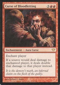 Magic the Gathering Dark Ascension Red Rare Card- Curse of Bloodletting #85