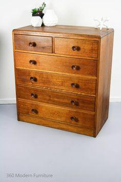 Mid Century Industrial Sideboard Drawers Dresser Retro Vintage Tallboy Oak in…