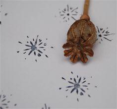 Poppy seed head snowflake stamp