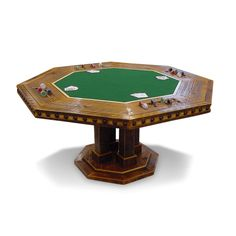 With an easy lift mechanism underneath, our convertible poker table seamlessly transforms from a functioning octagon dining table to a full-fledged felt top gaming table.
