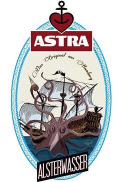 Grafikdesigner Andrea Pagano aus Italien hat die Astra-Bierflaschen-Label mal mit einem neuen Design versehen. Alles sieht sehr cool retro aus mit Pirat, Meerjungfrau und Seeungeheuer. Dabei natürlich (Cool Crafts Products)