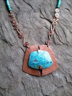 I want this! TURQUOISE Necklace Etched COPPER Pendant by andreaswhimsies, $120.00 #bisuteria #bisuterias #bisuteriafina #guatemala