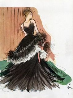 Maggy Rouff gown 1947 illustration by Rene Gruau