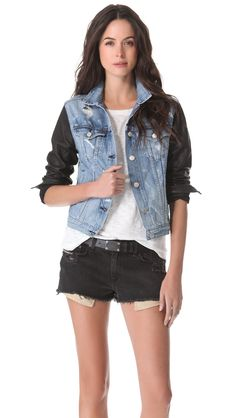 Rag & Bone/JEAN The Jean Jacket with Leather Sleeves | SHOPBOP