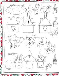Outlines for felt stuffed ornaments - nice!