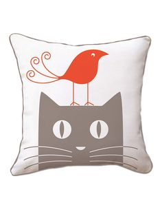 "Naked Decor ""Bird on Cat"" Decorative Pillow"