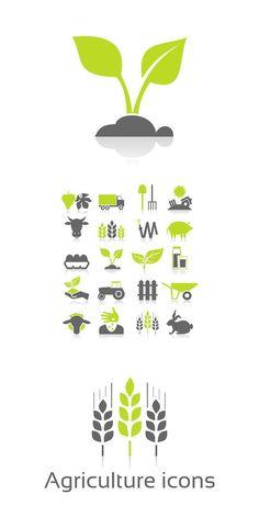 Set of icons on a theme agriculture Company Business Cards, Business Logo, Web Ui Design, Logo Design Template, Agriculture Logo, Precision Agriculture, Crop Farming, Farm Logo, Symbol Design