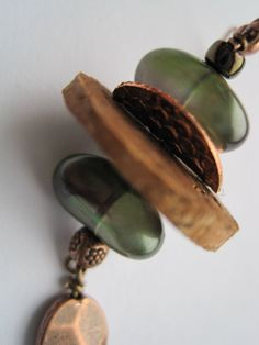 Cork and Green glass pearl Upcycled Earrings by ShimmerJewelry, $18.00