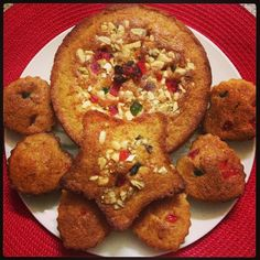 Eggless carrot n pumpkin cake topped with dry-fruits