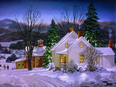 Winter Houses Background