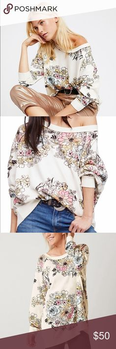 Free People Get on Floral pullover Brand new. An oversized top that you'll want to live in. Great with skinny jeans, leggings and or even shorts. Free People Sweaters