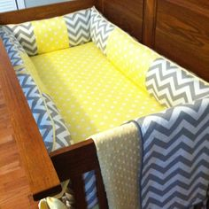 Yellow and gray custom nursery crib bedding set by Posh Petites Boutique. Https://www.Facebook.com/poshpetitesboutique