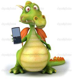 Fun-dragon-with-a-mobile-phone