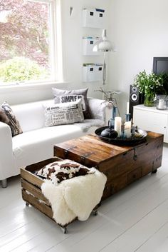 I like this coffee table with built in storage.