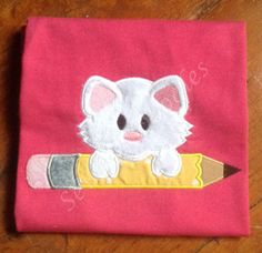 Back to School Kitty with Pencil Applique T-shirt by SewingDoodles on Etsy