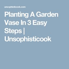 Planting A Garden Vase In 3 Easy Steps | Unsophisticook
