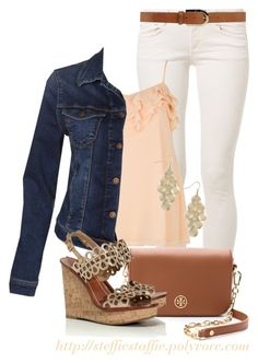 """""""Peach Cami, Denim & Metallic Wedges"""" by steffiestaffie ❤ liked on Polyvore featuring CIMARRON, Orciani, River Island, Mavi and Tory Burch"""