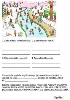 Open ideat: Sanaluokat (verbit ja substantiivit) Finnish Words, First Grade, Speech Therapy, Special Education, Literature, Kindergarten, Preschool, Language, Classroom