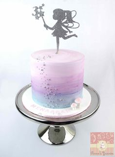 Fairy Birthday Cake with water colour effect.  www.rameesyummies.com.au www.facebook.com/rameesyummies