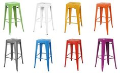 Furniture Design, Colorful Industrial Bar Stools Collection With ...