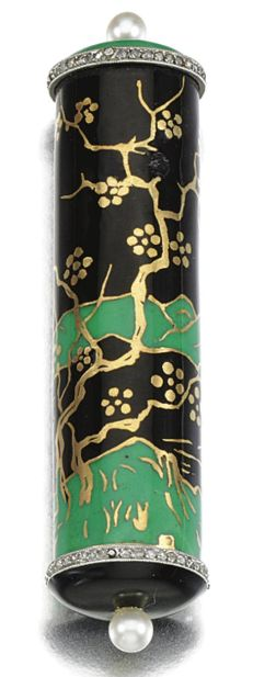 ENAMEL, PEARL AND DIAMOND LIPSTICK, LACLOCHE FRÈRES, CIRCA 1925. Of cylindrical form decorated with a Chinoiserie landscape in black and green enamel, the terminals millegrain-set with a line of rose-cut diamonds and a single pearl, signed Lacloche Fréres Paris, French assay and maker's marks. #LaclocheFreres #ArtDeco #LipstickHolder