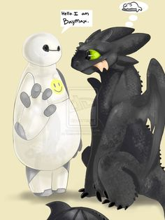 Baymax and Toothless by Galaxynite.deviantart.com on @DeviantArt