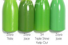 Zoya - Tilda // Zoya - Jace // Sally Hansen - Triple Shine Kelp Out // Zoya - Josie Nail Polish Dupes, Nail Polishes, Nail Polish Colors, Saturated Color, Sally Hansen, Beauty Nails, Summer 2015, Swatch, Palette