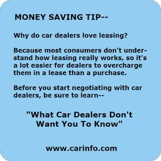"""Money Saving Tips - How to save money when buying new cars. Auto leasing secrets and lots more. """"What Car Dealers Don't Want You To Know"""" by CARINFO. Buying New Car, Car Buying Tips, Money Saving Tips, Camping Appetizers, Bodybuilding Meal Plan, Coffee Maker With Grinder, Free Facebook Likes, Get Gift Cards, Book Design Layout"""