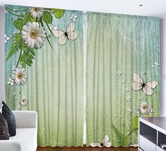Bedroom Curtains Modern Artwork Home Decor by Ambesonne Daisies Flowers Butterflies Design Theme Art Print Bedroom Curtains Living Room Curtain 2 Panels Set 108 X 84 Inches White Green Turquoise *** See this great product. Note: It's an affiliate link to Amazon.