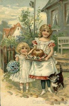 feeding angel food cake to the kitty