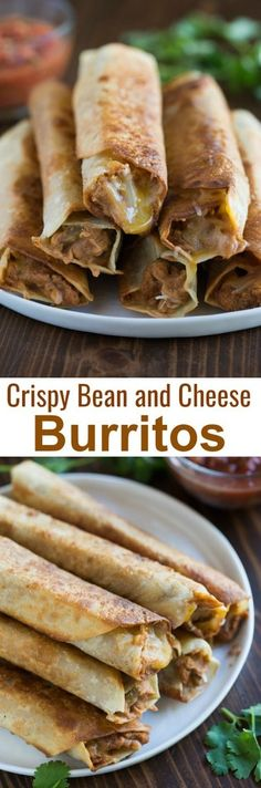 Crispy Bean and Cheese Burritos recipe is AMAZING, kid-friendly, and perfect for an easy weeknight meal. Crispy Bean and Cheese Burritos recipe is guaranteed to be family approved, and is perfect for an easy weeknight dinner. They're freezer friendly and vegetarian, with seasoned refried beans and fresh shredded cheese layered inside a flour tortilla and cooked until crispy. tastesbetterfromscratch.com  #burrito #mexican #easy #dinner #vegetarian #freezer #Mexicanos #recipe #makeahead via…