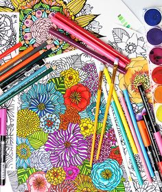 Coloring tips and techniques Coloring is one of the best ways to relax, unwind, meditate and de-stress. The process of adding color to my drawings it my favorite step. Love Coloring Pages, Coloring Tips, Adult Coloring Pages, Free Coloring, Coloring Books, Colouring, Alisa Burke, Engineer Prints, To Color