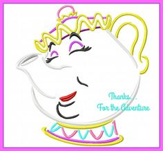 Mrs. Potts the Tea Pot from Beauty and the Beast Sketch Digital Embroidery Machine  Design File 4x4 5x7 6x10 by Thanks4TheAdventure on Etsy