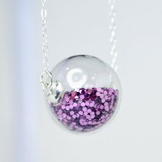Purple glitter hand blown glass ball sterling silver by thestudio8, $34.00