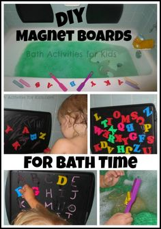 Make your own magnetic chalk boards for bath time- Simple, frugal, and so many ways to play!