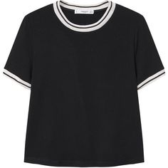 Contrast Trim T-Shirt (£16) ❤ liked on Polyvore featuring tops, t-shirts, short sleeve t shirts, short sleeve tops, mango tee, round top and mango t shirt