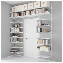 IKEA - ALGOT, Wall upright/shelves, white, The parts in the ALGOT series can be combined in many different ways and easily adapted to your needs and space. Can also be used in bathrooms and other damp indoor areas. Ikea Algot, Ikea Organization, Ikea Storage, Ikea Bedroom Storage, Ikea Small Bedroom, Gray Bedroom, Trendy Bedroom, Easy Storage, Storage Ideas