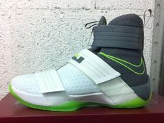 af9a612927f2 The Nike LeBron Soldier 10 returns in the classic Dunkman combination of  grey and lime green.