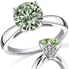 Light Green Round Moissanite Engagement Ring With Pave Basket