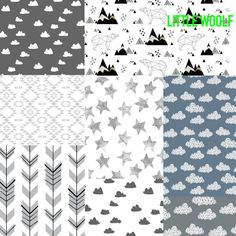 "Little Woolf Sweet Dreams Bedding Set, Crib Sheet, Organic Baby Blanket, Changing Pad Cover, 16""x16"" Pillow, Crib Skirt"