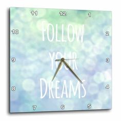 3dRose Follow your dreams - blue pretty magical bokeh - turquoise teal - inspiring motivational saying, Wall Clock, 13 by 13-inch