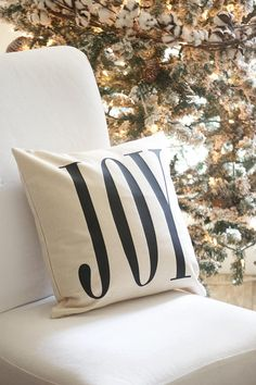 Christmas Pillow Cover  JOY  Free Shipping  Farmhouse